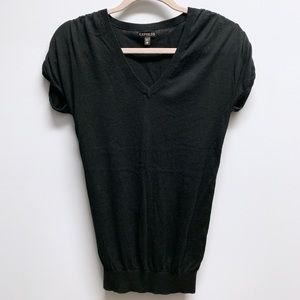 ⚡️ Express | Black V-Neck Short Sleeve Sweater